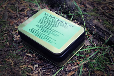 Military Survival Kit in a tin