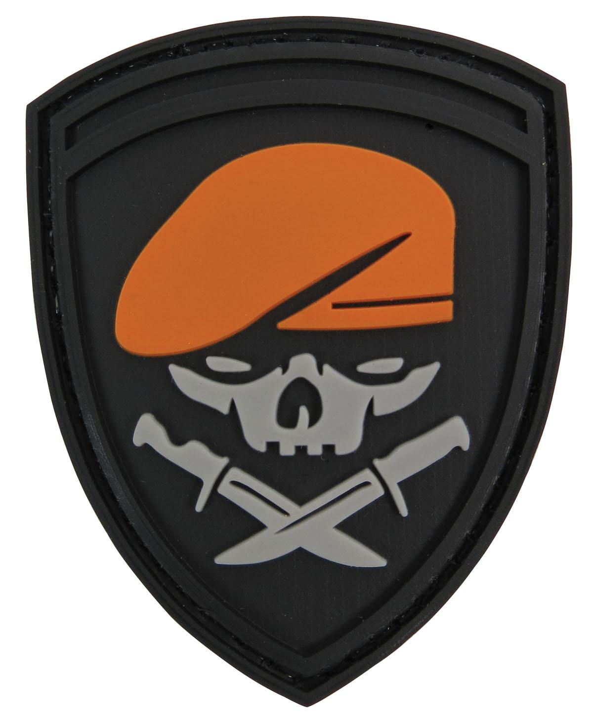 Pvc Badge Beret Skull And Knives