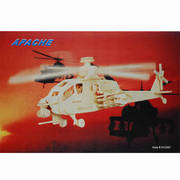 Apache Helicopter 3D Wooden Construction Puzzle