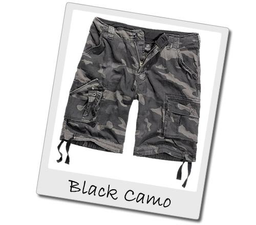 Black Camo Cargo Shorts