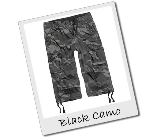 Black Camo Three Quarter Length Shorts