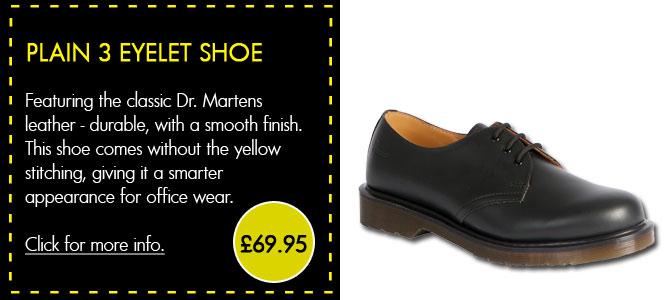 Dr Martens Plain 3 Eyelet Shoe