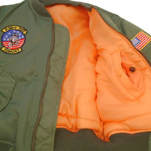 Kids MA-1 Flight Jacket Orange Inner