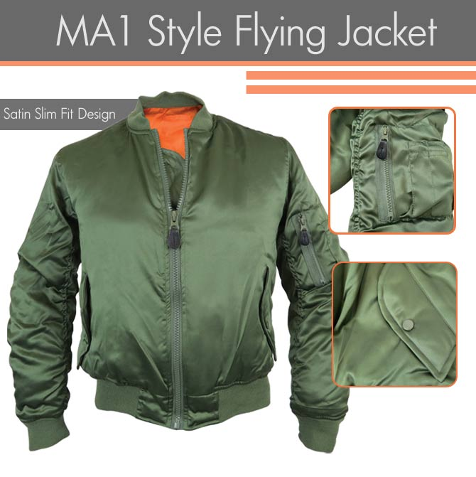 Satin Slim Fit MA1 Bomber Jacket