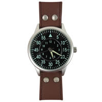 Military Field Watch with Leather Strap